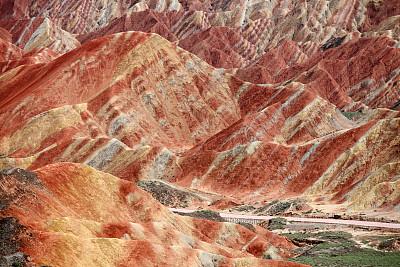 五彩山,丹霞地貌,甘肃省,岩层,自然,水平画幅,地形,山,岩石,景观设计