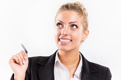 女商人,卡片,职权,水平画幅,套装,白人,仅成年人,信用卡,青年人,仅一个青年女人