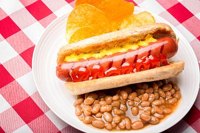 热狗,德式香肠,开胃品,德国食物,格子烤肉,经加工的肉,水平画幅,无人,膳食,精制土豆