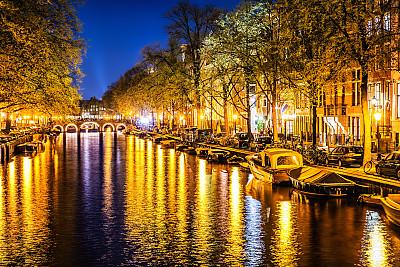 水,夜晚,运河,阿姆斯特丹,都市风光,阿姆斯特河,连栋房屋,天空,水平画幅,无人