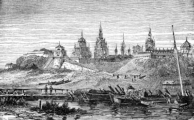 俄罗斯,雕刻图像,19世纪风格,绘画插图,古董,水平画幅,地形,建筑,无人