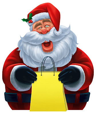 圣诞老人,幽默,剪贴画,垂直画幅,绘画插图,性格,卡通,圣诞礼物,看