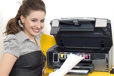 打印机,女人,办公室,喷墨盒,书页,仅成年人,青年人,彩色图片,技术