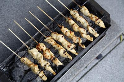 鸡肉沙嗲,格子烤肉,饮食,水平画幅,亚洲,鸡肉,美味,食品,肉,盘子