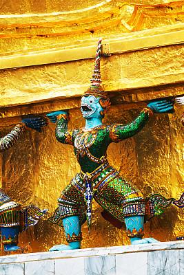 勇士,绿色礼服,蓝色,玉佛寺,垂直画幅,黄金,建筑,泰国,曼谷,雕塑