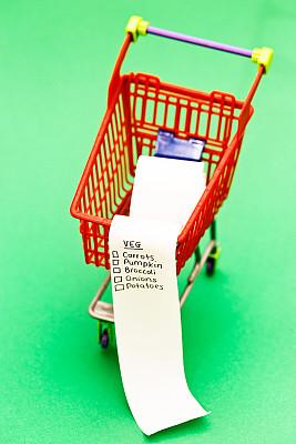 购物清单,超级市场,蔬菜,小的,手摇车,食物金字塔,每日五份,垂直画幅,胡萝卜