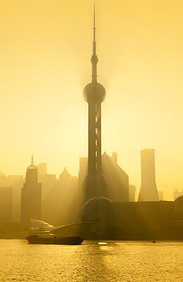 上海,早晨,黄浦江,外滩,黄浦区,浦东,垂直画幅,未来,无人,东亚