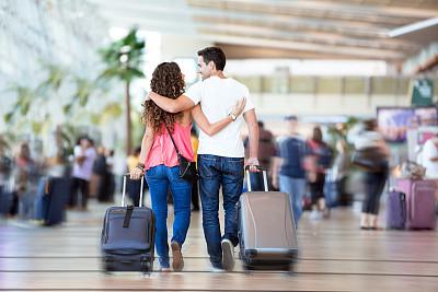 手提箱,机场,异性恋,里面,旅途,飞机,新婚夫妇,西班牙和葡萄牙人,旅行者,男性