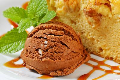 水果蛋糕,切片食物,冰块,奶油,果子甜面包,冰淇淋,褐色,芳香的,水平画幅