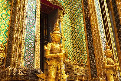 仪仗队,黄金,佛,玉佛寺,勇士,水平画幅,建筑,泰国,曼谷,建筑物门