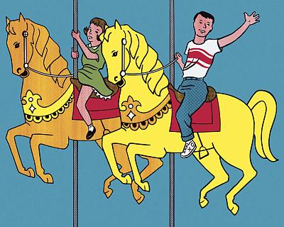 旋转类游乐,马,旋转木马,游乐园,波普风,休闲活动,水平画幅,绘画插图,古典式,男性