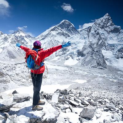 在上面,地球,珠穆朗玛峰,卡拉帕塔峰,坤布,天空,四肢,雪,举起手,不看镜头