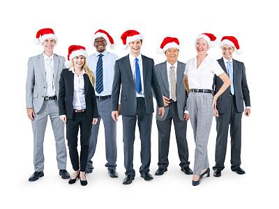 商务人士,帽子,工作派对,办公室,圣诞帽,水平画幅,圣诞老人,人群,非裔美国人
