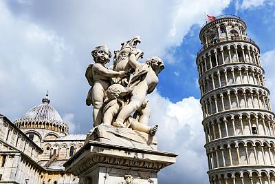 比萨,国际著名景点,芳塔纳雕像,比萨斜塔,奇迹广场,水平画幅,无人,喷泉,户外