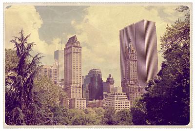 中央公园,纽约,明信片,看风景,正面视角,公园,古董,边框,外立面,水平画幅