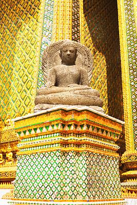 佛,块状,冷,玉佛寺,垂直画幅,黄金,墙,建筑,无人,石材