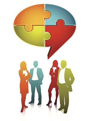 拼图拼块,领导能力,形状,绘画插图,阴影,商务会议,男商人,七巧板,对话气泡框,三维图形