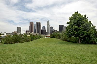 城市天际线,洛杉矶,公园,长椅,水平画幅,无人,洛杉矶县,巨大的,夏天,户外