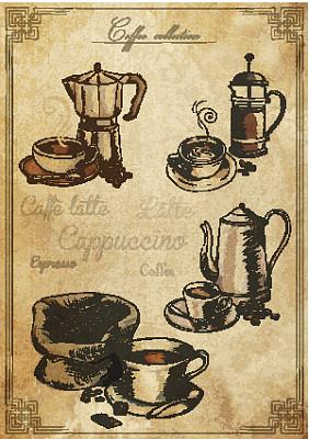 咖啡,粗麻布袋,咖啡壶,绘画插图,烤咖啡豆,纹理效果,茶碟,古典式,饮料,摇滚乐