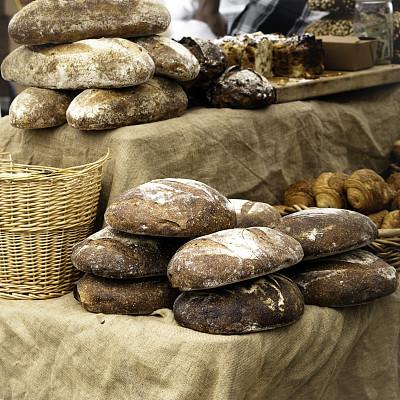 面包,超级市场,褐色,无人,篮子,乡村风格,工匠,长面包,彩色图片,大量物体