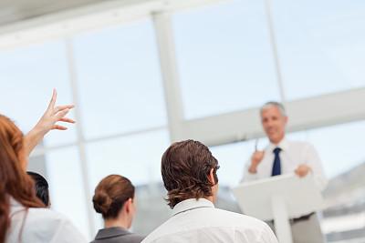 女人,演说家,问号,办公室,水平画幅,智慧,会议,套装,商务会议,白人