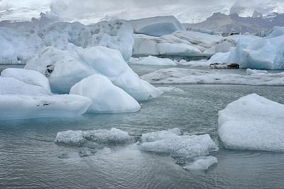 冰川泻湖,冰山,融水,北大西洋,瓦特纳冰原,杰古沙龙冰川湖,水,水平画幅,雪,无人
