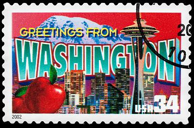 华盛顿州,明信片,化妆舞会服,邮戳,美国,水平画幅,古典式,黑色背景,过时的