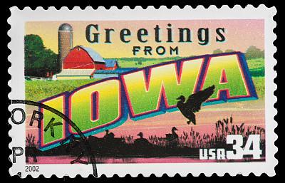 爱荷华,州,化妆舞会服,明信片,邮戳,美国,水平画幅,古典式,黑色背景