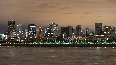 夜晚,都市风景,魁北克,城市,加拿大,蒙特利尔,巨大的,圣劳伦斯河,办公园区,加拿大文明