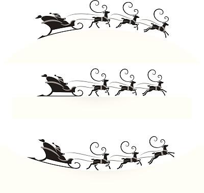 动物雪车,安全护栏,圣诞老公,雪橇,红鼻子驯鹿,圣诞老人,绘画插图,符号,黑色