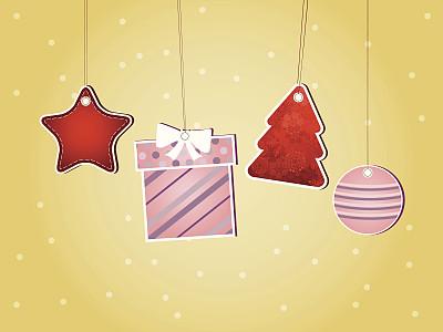圣诞装饰,留白,水平画幅,雪,无人,绘画插图,标签,圣诞树,现代