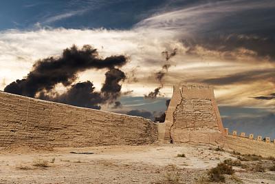 西安,天空,边框,水平画幅,古老的,户外,要塞,石材,非凡的,国际著名景点