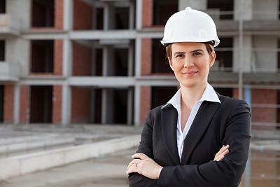 建筑师,青年女人,开领,建筑承包商,半身像,套装,商务关系,安全帽,仅成年人,建筑业