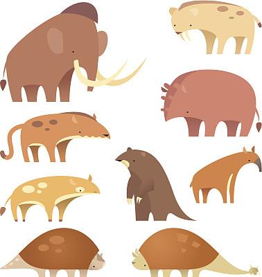 哺乳纲,史前时代,剑齿猫,貘,古生物学,侏罗纪,中生代,绘画插图,巨大的,野外动物