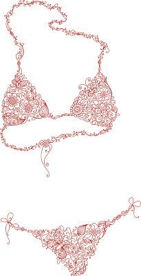 比基尼,比基尼泳裤,比基尼胸罩,女背心,品牌服装,泳衣,垂直画幅,留白,优美,绘画插图