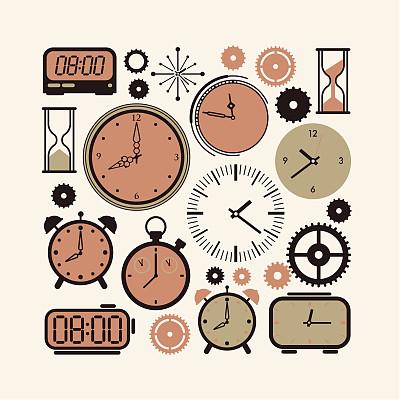 钟,迅速,无人,绘画插图,符号,计算机制图,计算机图形学,时间,计时工具,现代