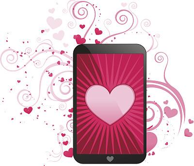 移动应用程序,贺卡,电话机,绘画插图,符号,伴侣,计算机软件,我爱你,情人节卡,技术