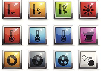 计算机图标,标志,符号,花盆,温度,图像,树荫,水滴,高大的,无人