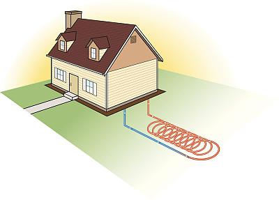 顺序,庭院,环境保护,无人,绘画插图,房地产,替代能源,房屋,散热器,矢量