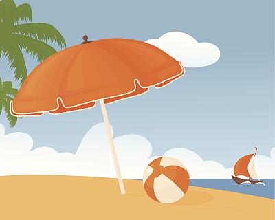 海滩,白昼,海滩充气球,球,天空,非都市风光,橙色,地形,沙子,无人