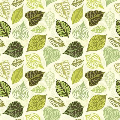 叶子,式样,白杨叶,橡树叶,花体,纹理效果,绘画插图,夏天,计算机制图,计算机图形学