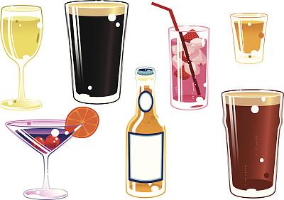 饮料,多样,香槟色,樱桃红色,特其拉,葡萄酒,休闲活动,樱桃,绘画插图,鸡尾酒