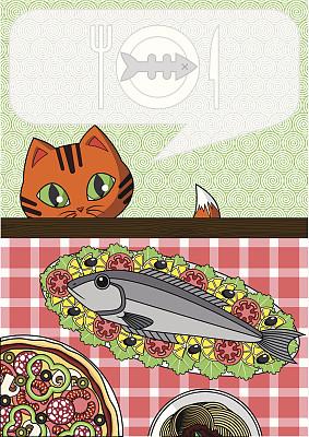 猫,鱼类,欲望,绘画插图,椒类食物,海产,动物身体部位,图像,西红柿,柠檬