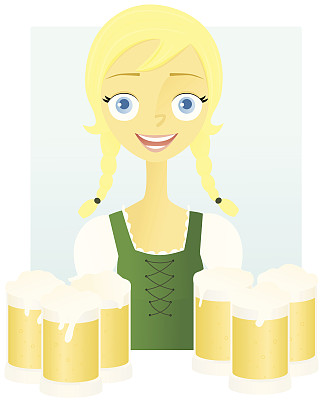 啤酒节,女孩,半身像,绘画插图,仅成年人,啤酒杯,啤酒,青年人,仅一个青年女人,成年的