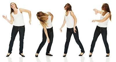 幸福,舞蹈,女人,多帧影像,正面视角,四肢,举起手,不看镜头,仅成年人,长发