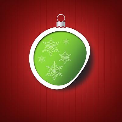 球体,绿色,红色背景,贺卡,留白,边框,圣诞卡,艺术,形状