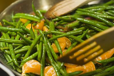 青豆,桔子,饮食,水平画幅,绿色,无人,豆科植物,特写,配菜,蔬菜