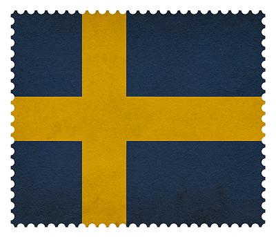 瑞典,邮票,穿孔的,水平画幅,无人,蓝色,欧洲,白色背景,背景分离,摇滚乐