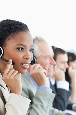 耳麦,横截面,总机人员,垂直画幅,办公室,电话机,顾客,白人,男商人,男性