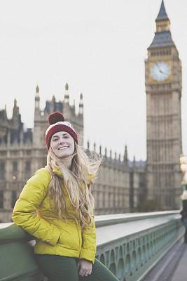 大本钟,女孩,棉袄,威斯敏斯特桥,垂直画幅,留白,仅成年人,长发,现代